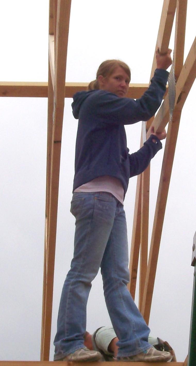 Desiree Hepworth volunteering at one of the Mercy Housing Idaho Self-Help Homeownership homes.