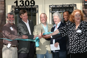 Volunteers and supporters celebrated the dedication of the Aromor Apartments, 1309 Grant Street, on Saturday. From left: Pat Coyle, Denver Human Services; Denver Mayor John Hickenlooper; Rick Schaden, America's Road Home; Sister Lillian Murphy, RSM, Mercy Housing CEO; Roy Alexander, Colorado Housing and Finance Authority Executive Director/CEO; and Susan Hawkins, Aromor resident.