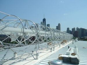 Wind turbines located on the roof of Mercy Housing Lakefront's award-winning environmental property The Harold and Margot Schiff Residences located in Chicago