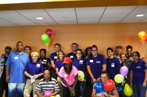 U.S. Bank volunteers celebrate with Johnston Center residents