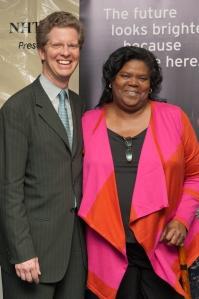 HUD Secretary Shaun Donovan and Pullman Wheelworks resident Marie Robinson
