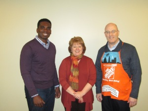 (Left to Right) Tyrene Hodge, Field Manager, The Home Depot Foundation Field Manager; Cindy Holler, President, Mercy Housing Lakefront; and John Sadler, Regional Pro Sales Manager, Home Depot