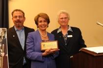 Mercy Housing California President Doug Shoemaker & Sister Lillian Murphy, RSM present Spirit of Mercy Award to House Democratic Leader Nancy Pelosi