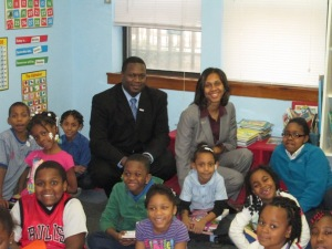 US Bank representatives Alfred Burns & Sonegua Strong distributed school supplies to the Austin After-School Program