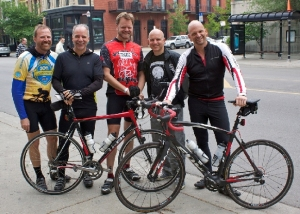 The Mercy Riders Team – From left: Greg Duffner, Bill Goldsmith, Emil McCauley, Jim Andricopolous, Mark Bucheri. Not pictured: Keith Melbourne, Support Crew - Michelle McCauley, Barb Duffner