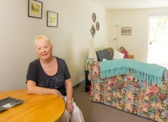Cambridge Apartments resident Harriet Felton in her newly-renovated home