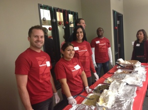 Bank of America volunteers serve a hearty meal