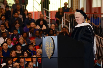 Mercy Housing CEO Sister Lillian Muprhy, RSM giving the baccalaureate address at the Saint Xavier University Graduation Ceremony (photo courtesy of Saint Xavier University)