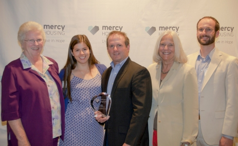 Mercy Housing's Live in Hope 2014 Business Partner of the Year was awarded to Cricket Wireless. Pictured left to right: Sister Lillian Murphy, Mercy Housing CEO; Tanya Sneddon, Cricket Wireless; Joe Zeccola, Cricket Wireless; Jane Graf, Mercy Housing President; Steve Skarsgard, Cricket Wireless