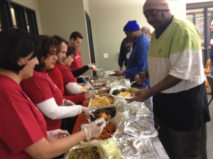 Mercy Housing volunteers serve Thanksgiving meal