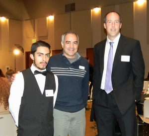 Youth Star Award recipient Marco Sanchez stands with Eddie Zacapa, Mercy Housing resident services coordinator, and Oak Ridge Principal Paul Burke at the Vision Coalition's ceremony. Marco works with youth who live in Mercy Housing.  Picture originally captured by Village Life by Noel Stack.