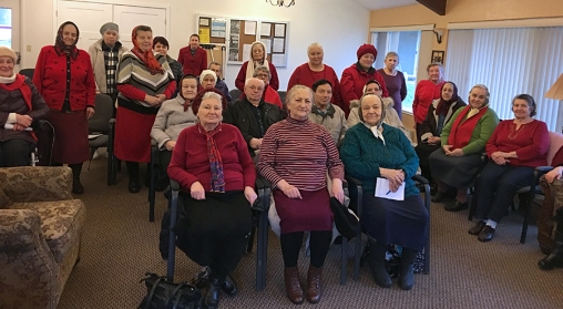 Residents in Kent dressed in red at the Go Red Day presentation